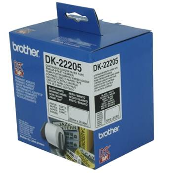 Brother WHITE CONTINUOUS PAPER ROLL 62mm*30.48m DK-22205