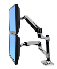 Ergotron LX Dual LCD vertical Stacking Arm polished aluminium Max 24IN [45-248-026]