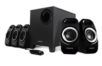 Creative Inspire T6300 5.1 surround speaker system, Dual Slot Enclosure louder and deeper, IFP design, Adjustable bass, 2 larger satellites, VC , 1 Year