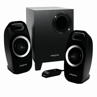 Creative Inspire T3300 High-performance 2.1 speaker system, 5.5 Watts RMS per channel (2 channels), 16 Watts RMS subwoofer, adjustable bass, VC , 1 Ye