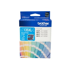 Brother CYAN INK CARTRIDGE TO SUIT DCP-J4110DW/MFC-J4410DW/J4510DW/J4710DW - UP TO 1200 PAGES LC-135XLC