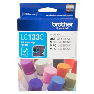 Brother CYAN INK CARTRIDGE TO SUIT DCP-J4110DW/MFC-J4410DW/J4510DW/J4710DW - UP TO 600 PAGES LC-133C