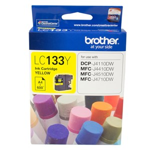 Brother YELLOW INK CARTRIDGE TO SUIT DCP-J4110DW/MFC-J4410DW/J4510DW/J4710DW - UP TO 600 PAGES LC-133Y