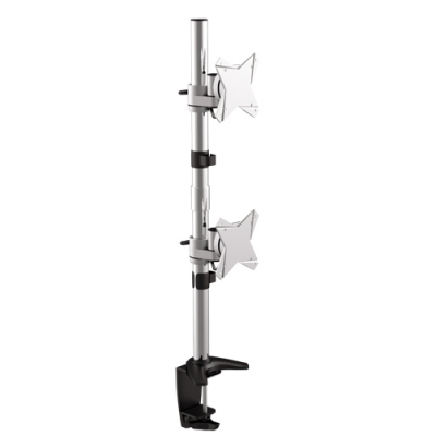 Brateck LDT02-C02V, Elegant Dual Vertical LCD Monitor Table Stand wArm and Desk Clamp VESA 75100mm Up to 23, 1 Year