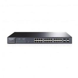 TPLink 24-PORT GIGABIT POE+ SMART SWITCH 24 GIGABIT RJ45 PORTS INCLUDING 4 SFP PORTS 802.3AT/AF 215W POE POWER SUPPLY STATIC ROUTING TAG-BASED VLAN STP/RSTP/MSTP IGMP V1/V2/V3 SNOOPING 802.1P QOS RATE