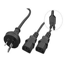 Alogic 2m Aus 3 Mains Plug to 2 X IEC C13 Y Splitter Cable - Male to 2 X Female Cable - MOQ:7 MF-AUS3P2C13-02