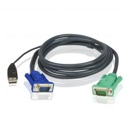 Aten KVM Cable - 1.2m 3in1 VGA USB Console KVM Cable; HDB-15 Male to SPHD Male 2L-5201U